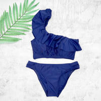 即納 One shoulder frill solid bikini Navy