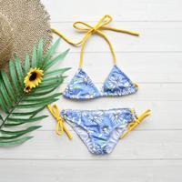即納 Baby size classic triangle bikini Yellow flower