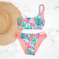 即納  One shoulder reversible tie up bikini Hawaiian