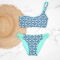 即納  One shoulder reversible tie up bikini Turquoise damask