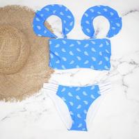 即納 Jointed frill reversible bandeau bikini Blue paisley