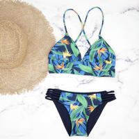 即納 A-string reversible long under bikini Blue nature