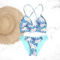 【予約販売】 A-string reversible long under bikini Hibiscus Blue