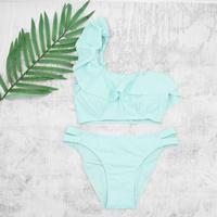 即納 One shoulder frill solid bikini Turquoise