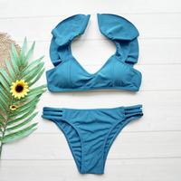 即納 Shoulder frill solid bikini Buel