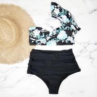 即納 Slack style high waist one shoulder bikini