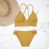 即納 A-string long under solid bikini Mustard
