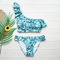 即納 One shoulder frill bikini Turquoise leaf