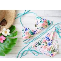 即納 Triangle bikini Turquoise leaf