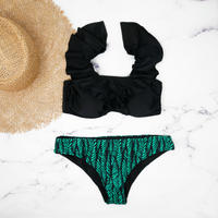 即納 V-line shoulder frill desing bikini Deep green