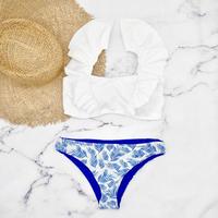即納 V-line shoulder frill desing bikini Pure blue