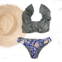 即納 V-line frill shoulder desing bikini Paisley khaki
