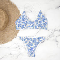 即納 Fit up desing reversible bikini Blue leaf