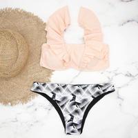 即納 V-line shoulder frill desing bikini Bright