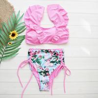 即納 V-line frill high waist reversible bikini Neon pink