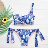 即納 One shoulder reversible tie up bikini Botanical