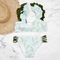 即納 Shoulder frill desing bikini Light green
