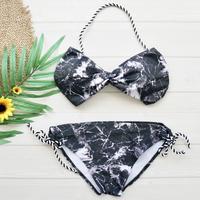 即納 String simply desing bandeau bikini Black marble