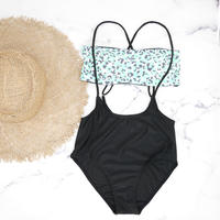 即納 Separate desing bandeau bikini Mint leopard