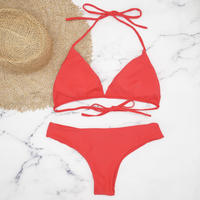 即納 String desing simply brazillian bikini Red