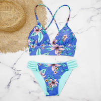 即納 A-string reversible long under bikini Blue flower