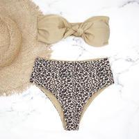 即納 High waist ribboned bandeau bikini Gold leopard