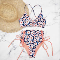 即納 A-string reversible high waist bikini Flower
