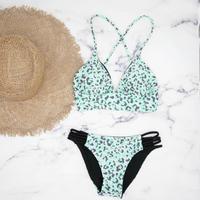 即納 A-string reversible long under bikini Mint leopard
