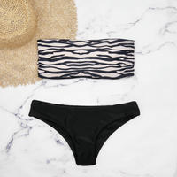 即納 Tube top reversible desing bikini Zebra