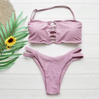 即納 Tie up string bandeau bikini Nude pink