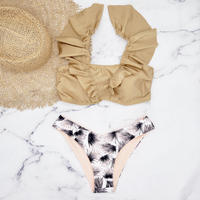 即納 V-line shoulder frill brazillian bikini Brown
