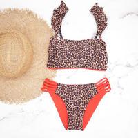 即納 Jointed frill reversible bandeau bikini Clash leopard