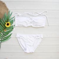即納 Shiulder ribboned bandeau bikini Solid white