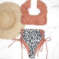 即納 V-line frill high waist reversible bikini Blown leopard