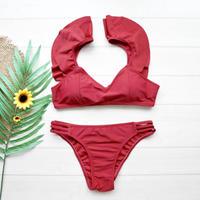 即納 Shiulder frill solid bikini Red