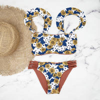即納 Jointed frill reversible bandeau bikini Sunflower