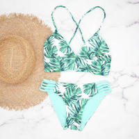即納 A-string reversible long under bikini Turquoise leaf
