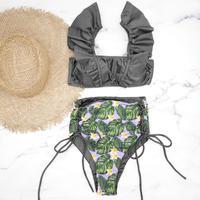 即納 V-line frill high waist reversible bikini Deep glay