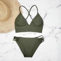 即納 A-string long under solid  bikini Khaki