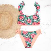 即納 Jointed frill reversible bandeau bikini Hibiscus