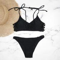 即納 Shoulder ribboned solid color bikini Black