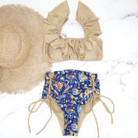 即納 V-line frill high waist reversible bikini  Paisley