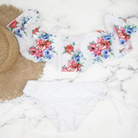 即納 White frill botanical off shoulder bikini