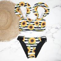 即納 Jointed frill reversible long under bikini Border sunflower