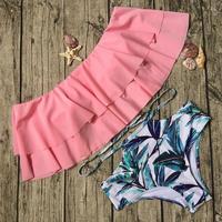 Leaf frill pink high waist bikini