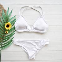 即納 A-string solid desing bikini Glossy white