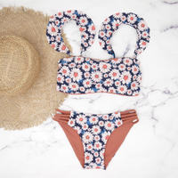 即納 Jointed frill reversible bandeau bikini Flower