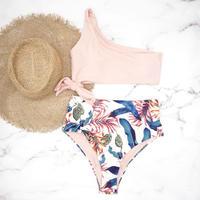 即納 One shoulder high waist bikini Pinky leaf