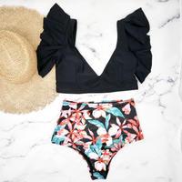 即納 Black tropical high waist shoulder frill bikini