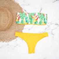 即納 Tube top reversible bandeau bikini Yellow leaf
